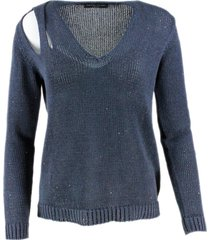 fabiana filippi v-neck sweater in cotton and linen with woven sequins open on the shoulder