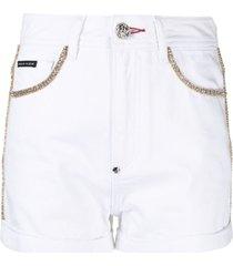 philipp plein crystal-embellished hot pants - white