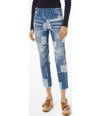 jeans corti con patchwork