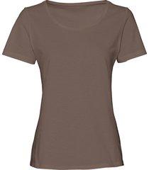 pyjama-shirt van bio-katoen met ronde hals, taupe 40/42