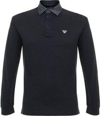 armani pique blue polo shirt 6x6f07
