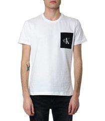 calvin klein white cotton t-shirt with ck logo
