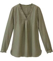 linnen tuniek met v-hals met franjerand en wijdteplooi, smaragd 44