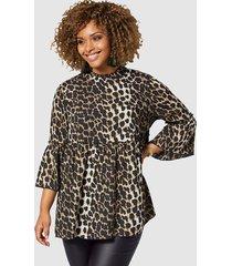 blouse angel of style bruin::beige::zwart