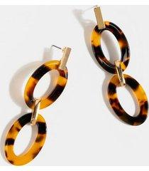 zoey tort chain linear earrings - tortoise