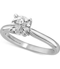 bliss monique luhillier diamond pave petal solitaire engagement ring (1-1/2 ct. t.w.) in 14k white gold