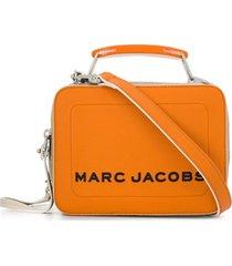 marc jacobs bolsa box mini com logo - laranja