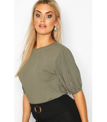 plus jumbo rib puff shoulder top, khaki