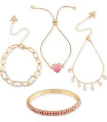 guess 4-pc. set crystal bracelets