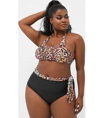 traje de baño sin mangas con diseño de lazo de leopardo halter de talla grande
