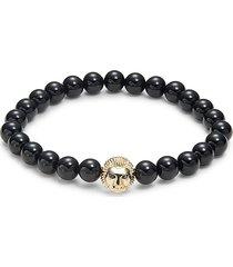 effy men's 14k yellow gold, onyx & black diamond bracelet