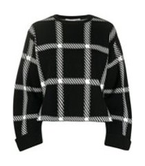 stella mccartney windowpane check print sweatshirt - preto