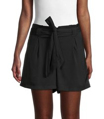 max studio women's belted paperbag shorts - army - size l