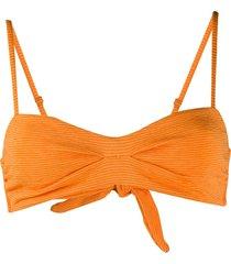 mara hoffman textured strie bikini top - orange
