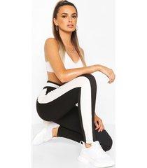 contrast colour block legging, black