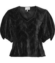 pleated satin blouses short-sleeved zwart ganni