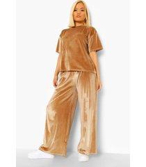 petite velours t-shirt en broek pyjama set, champagne
