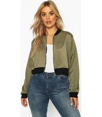 plus cropped bomber jacket, khaki