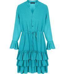 laagjes stippen jurk turquoise