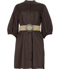katoenen blouse jurk met tailleriem tanushri  zwart
