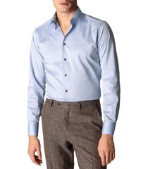 men's big & tall eton contemporary fit solid dress shirt, size 18 - blue