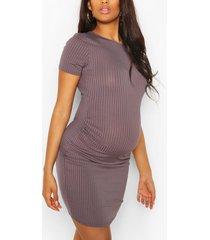 maternity basic rib bodycon dress, charcoal