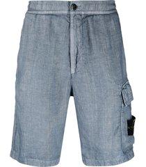 stone island linen bermuda shorts - blue