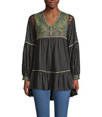 much love embroidered cotton tunic