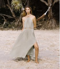reiss marta - resortwear midi dress in khaki, womens, size 14