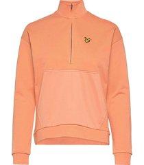 1/2 zip funnel neck sweat-shirts & hoodies fleeces & midlayers orange lyle & scott