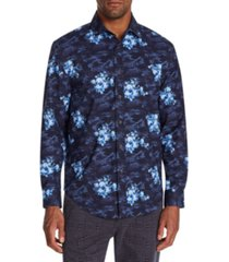 tallia men's slim-fit performance stretch floral camo long sleeve shirt