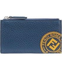 fendi ff stamp patch card holder - blue