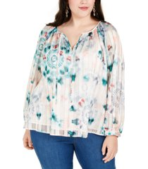 inc plus size printed chiffon-overlay top, created for macy's