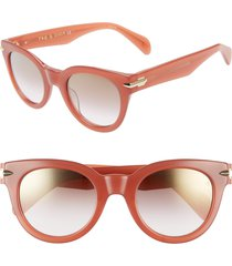 women's rag & bone core 50mm cat eye sunglasses - brick coral