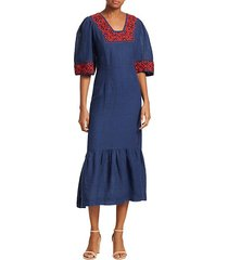 leah embroidered midi dress
