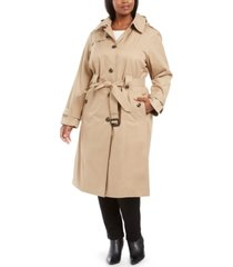 london fog plus size single-breasted belted maxi raincoat