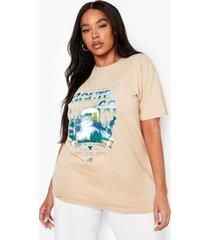 plus oversized route 66 t-shirt, stone