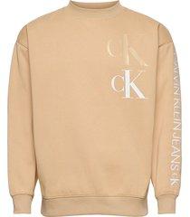ck eco fashion mock neck sweat-shirt tröja beige calvin klein jeans