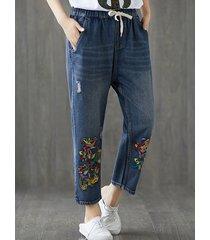 pantaloni in denim con vita elastica ricamata casual per le donne
