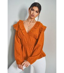broiderie anglaise ruffle plunge blouse, burnt orange