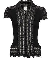 silk cardigan regular ss w/wide lac blouses short-sleeved zwart rosemunde