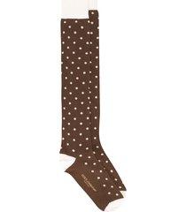 dolce & gabbana panelled polka dot socks - brown