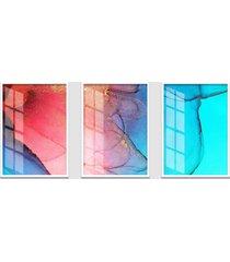 quadro 60x120cm abstrato alexandrita moldura branca sem vidro decorativo interiores - kanui