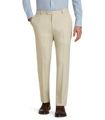 jos. a. bank men's traveler performance tailored fit flat front casual pants - big & tall, stone, 48x32