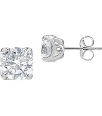 14k white gold & 1 tcw lab-grown diamond solitaire stud earrings
