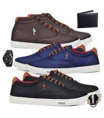 kit 3 pares sapatênis polo blu casual cano alto e cano baixo café/azul/preto acompanha carteira + relógio + cinto + meia.