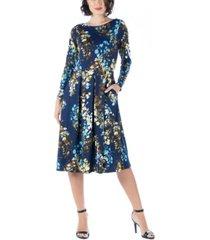 women's floral long sleeve pleated midi dress