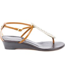 giuseppe zanotti crystal thong wedge sandals brown sz: 6