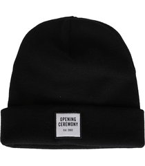 opening ceremony black virgin wool beanie