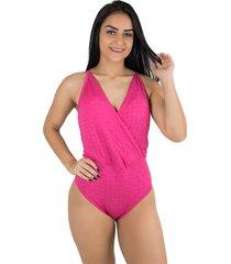 body diluxo decotado rosa tecido bolha